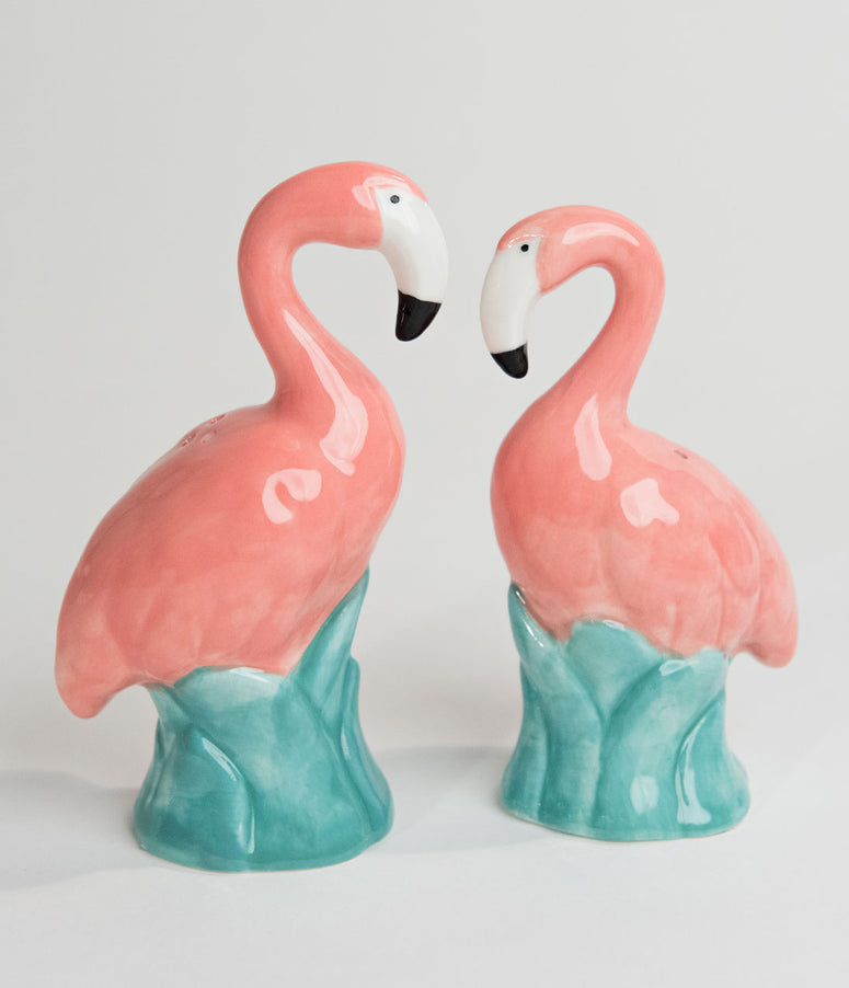 Retro Style Pink Flamingo Ceramic Salt & Pepper Shaker Set
