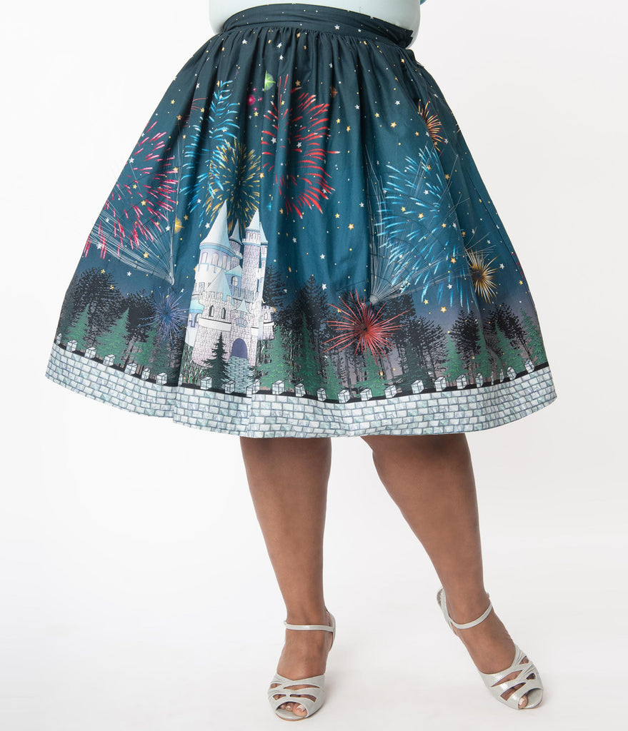 Unique Vintage Plus Size 1950s Magic Fireworks Show High Waist Swing Skirt