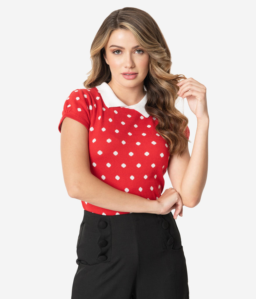 Red & White Polka Dot Cotton Knit Short Sleeve Sweater