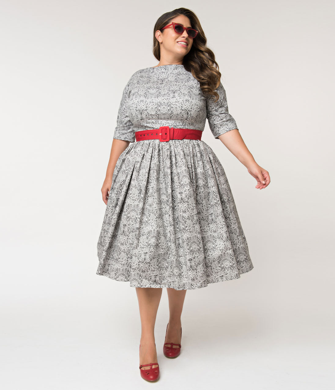 1950s Plus Size Dresses, Clothing and Costumes Unique Vintage Plus Size 1940S Style Black  White Lace Print Sleeved Sally Swing Dress $128.00 AT vintagedancer.com