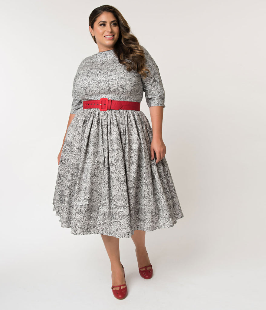 7ee05a81dbb ... Unique Vintage Plus Size 1940s Style Black   White Lace Print Sleeved  Sally Swing Dress ...