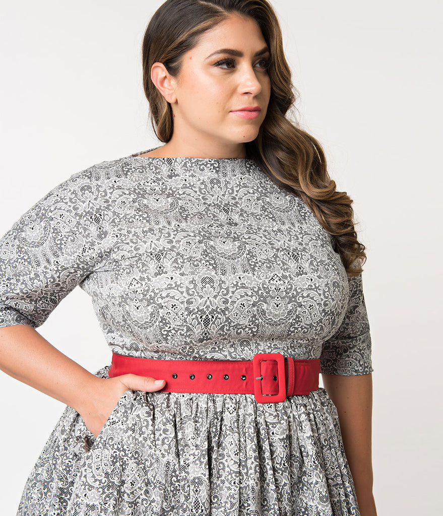 2ccff152087 ... Unique Vintage Plus Size 1940s Style Black   White Lace Print Sleeved  Sally Swing Dress