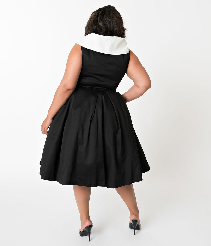 Barbie x Unique Vintage Plus Size Black Cotton After Five Swing Dress