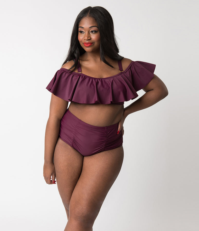 Plus Size Maroon Purple Ruffled Off The Shoulder Flounce Swim Top