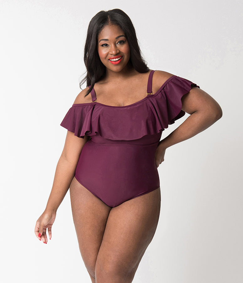 Plus Size Maroon Purple Ruffled Off The Shoulder Flounce One Piece Swimsuit