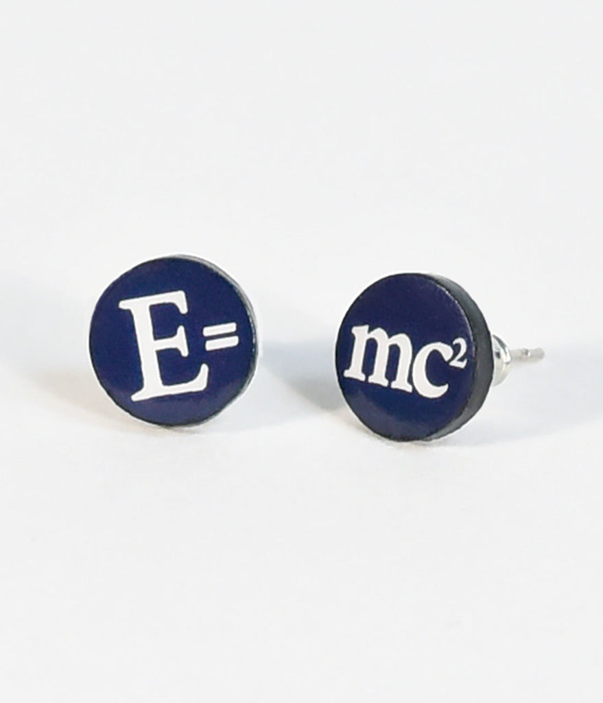 Navy Blue E = MC2 Stud Earrings