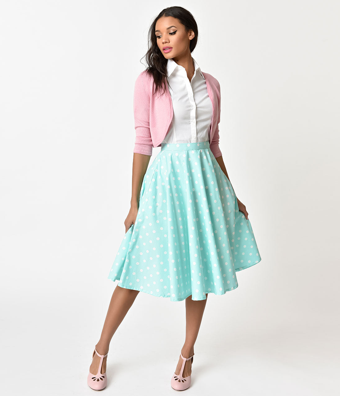 Retro Skirts: Vintage, Pencil, Circle, & Plus Sizes Vintage Style Mint  White Polka Dot Cotton Circle Skirt $42.00 AT vintagedancer.com