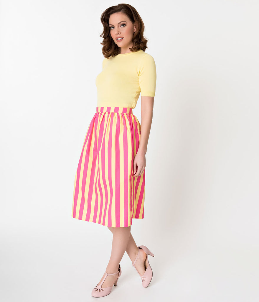 Hot Pink & Yellow Striped Gathered Cotton Swing Skirt