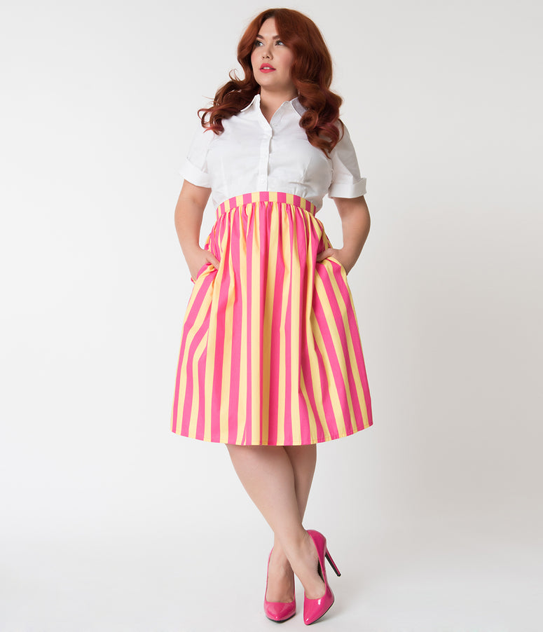 Plus Size Hot Pink & Yellow Striped Gathered Cotton Swing Skirt