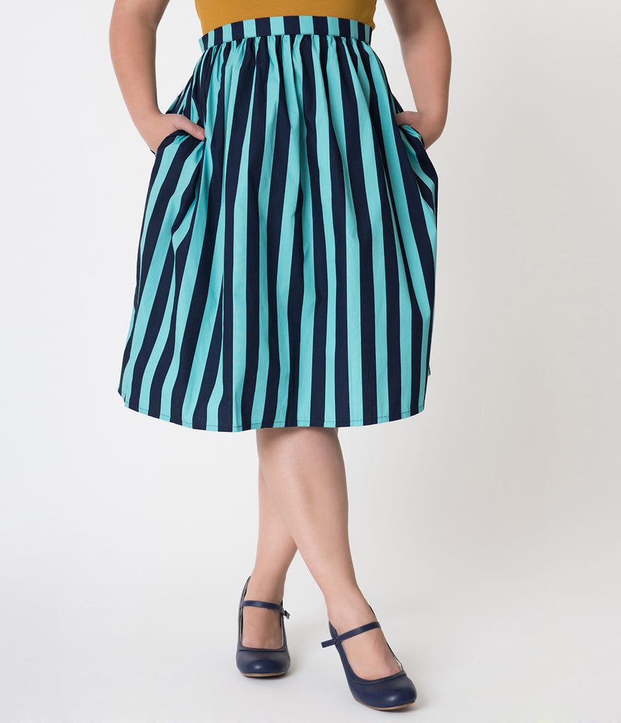 Plus Size Teal & Navy Blue Striped Gathered Cotton Swing Skirt