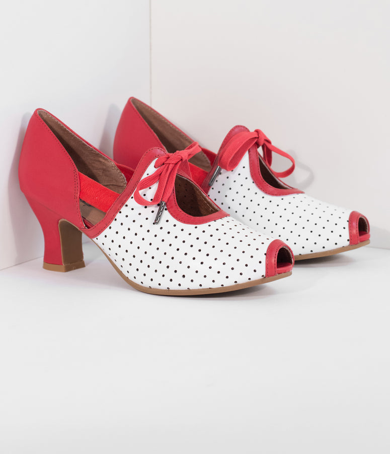 Royal Vintage 1930s Red & White Leather Ginger Peep Toe Heels