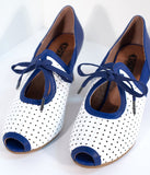 Royal Vintage 1930s Blue & White Leather Ginger Peep Toe Heels