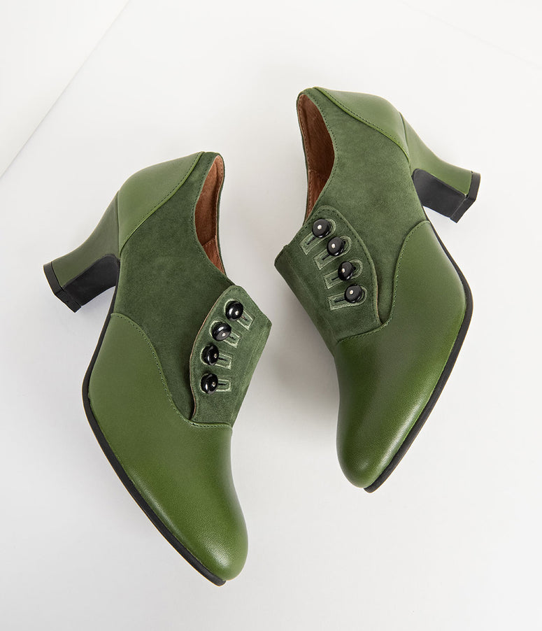 Royal Vintage 1930s Style Green Suede & Leather Side Button Greta Heels