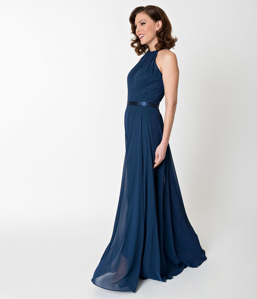 Navy Blue Halter Chiffon Sleeveless Long Formal Gown – Unique Vintage