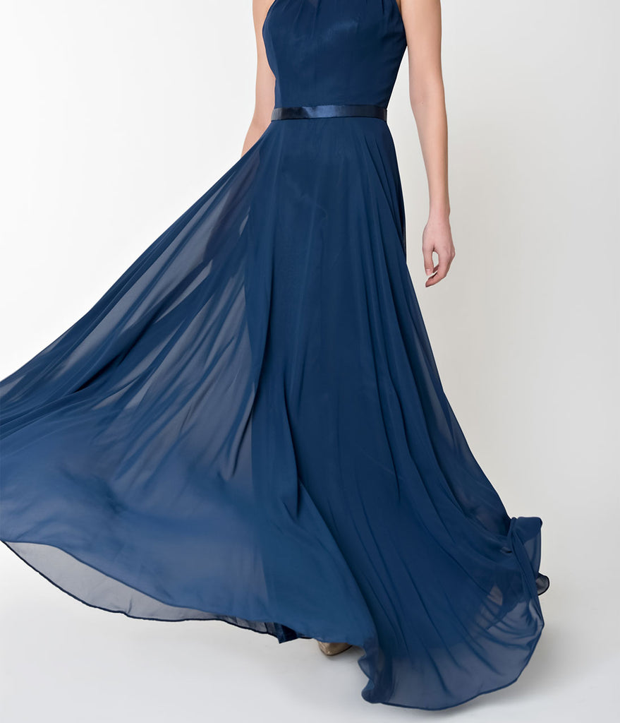 Navy Blue Halter Chiffon Sleeveless Long Formal Gown
