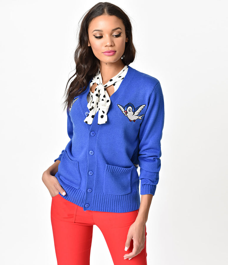 Cakeworthy Royal Blue Snow White Embroidered Knit Cardigan