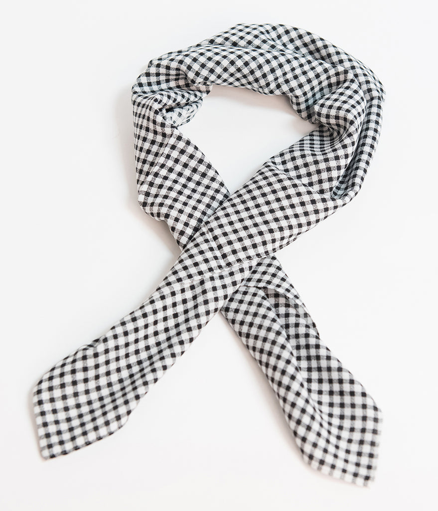 Unique Vintage Pin-Up Black & White Gingham Fabric Hair Scarf