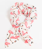 Unique Vintage Pin-Up Ivory & Pink Flamingo Print Crepe Hair Scarf