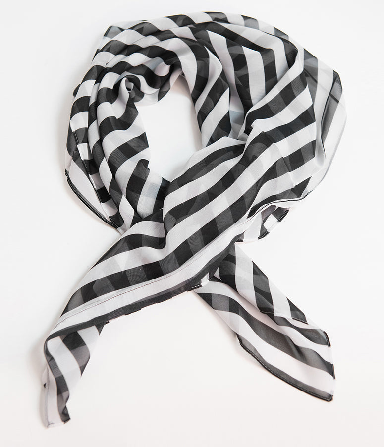 Unique Vintage Pin-Up Black & White Striped Print Chiffon Hair Scarf