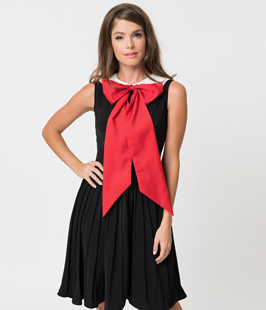 Unique Vintage 1960s Style Black & Large Red Bow Tie Marin Flare Dress