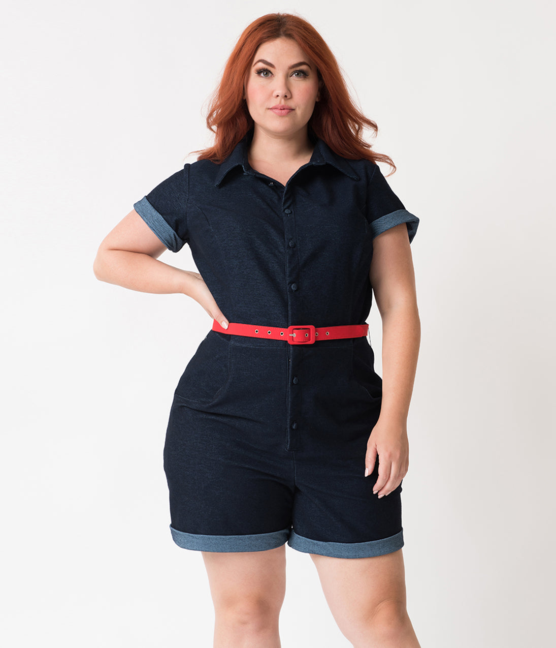 40s-50s Vintage Playsuits, Jumpsuits, Rompers History Unique Vintage Plus Size Dark Blue Denim Cotton Stretch Dixie Romper $88.00 AT vintagedancer.com