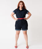 Unique Vintage Plus Size Dark Blue Denim Cotton Stretch Dixie Romper