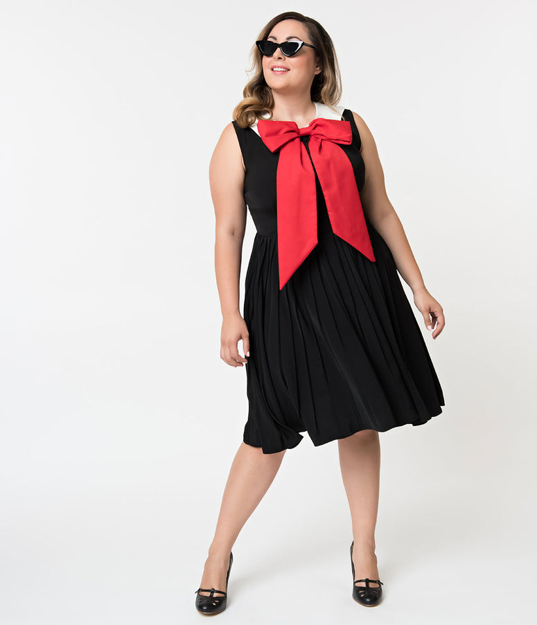 Unique Vintage Plus Size 1960s Style Black & Large Red Bow Tie Marin Flare Dress