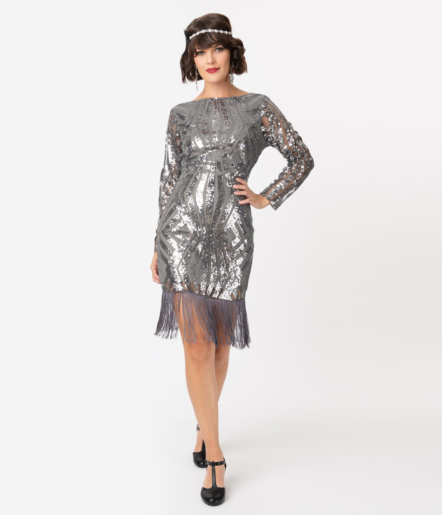 Unique Vintage Silver Pewter Sequin Sleeved Jocelyne Flapper Dress