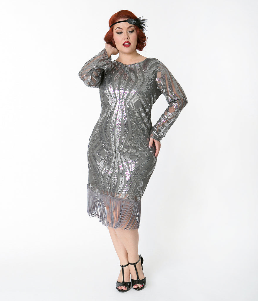 Unique Vintage Plus Size Silver Pewter Sequin Sleeved Jocelyne Flapper Dress