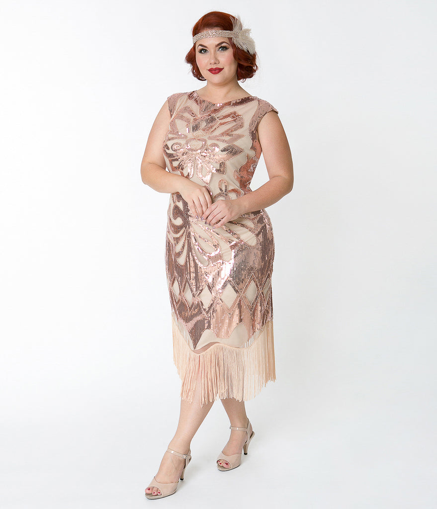 Unique Vintage Plus Size 1920s Style Beige & Rose Gold Sequin Edwige Flapper Dress