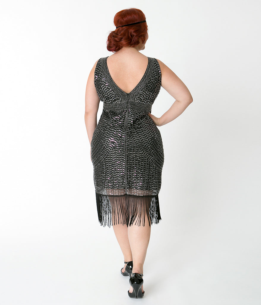 Unique Vintage Plus Size Black & Silver Beaded Josette Cocktail Flapper Dress