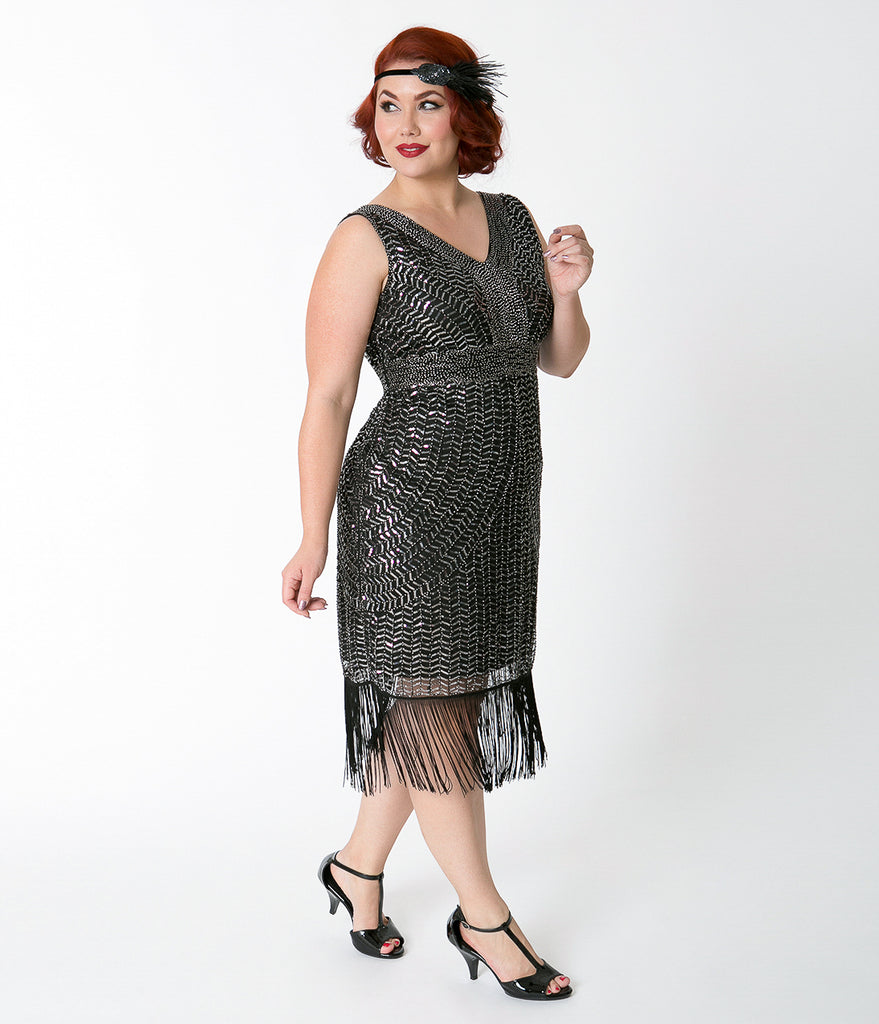713318968586 ... Unique Vintage Plus Size Black & Silver Beaded Josette Cocktail Flapper  Dress ...