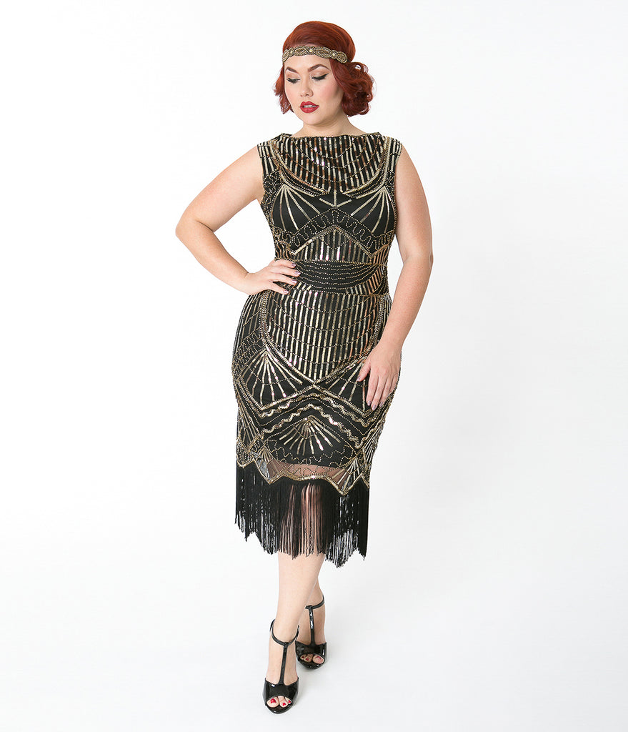 Unique Vintage Plus Size Black & Gold Sequin Therese Long Flapper Dress
