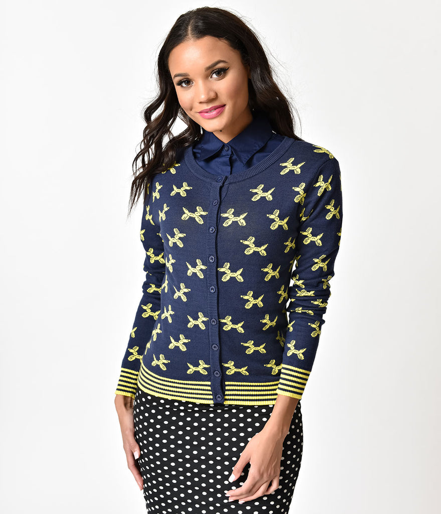 Navy Blue & Yellow Balloon Animal Knit Cardigan