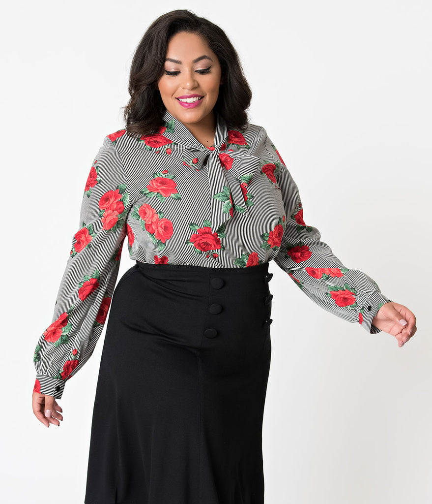 Folter Plus Size Black White Striped Red Rose Long Sleeve Bow