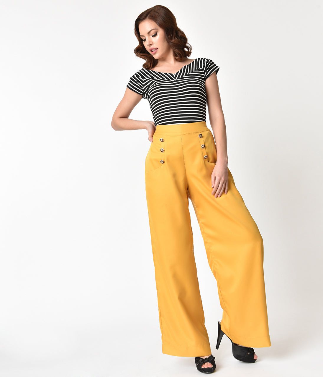 1950s Pants & Jeans- High Waist, Wide Leg, Capri, Pedal Pushers Unique Vintage 1940S Style Honey Yellow High Waist Sailor Ginger Pants $58.00 AT vintagedancer.com