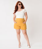 Unique Vintage Plus Size 1940s Style Mustard Yellow High Waist Sailor Debbie Shorts