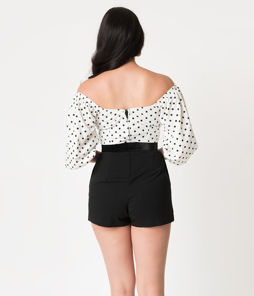 Micheline Pitt For Unique Vintage White & Black Dotted Pink Palace Playsuit