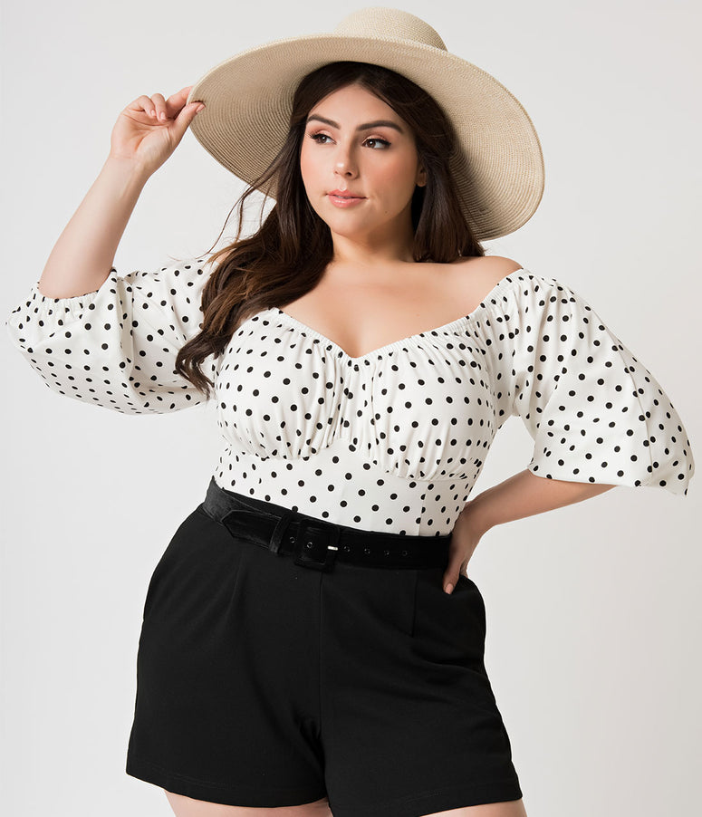 Micheline Pitt For Unique Vintage Plus Size White & Black Dotted Pink Palace Playsuit