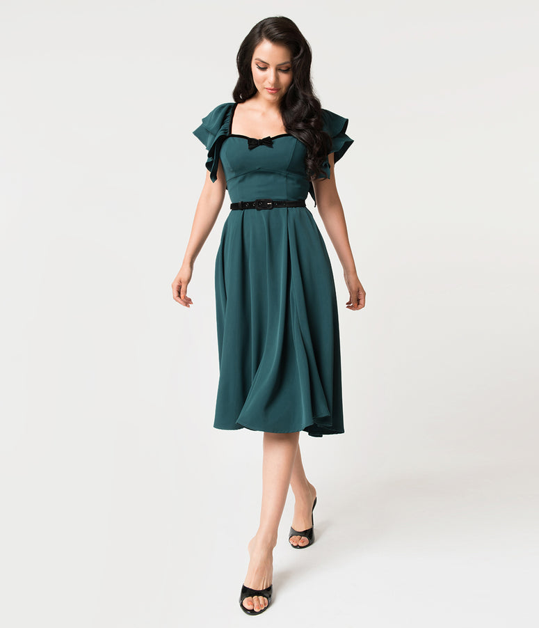 Micheline Pitt For Unique Vintage Hunter Green Carmelita Swing Dress