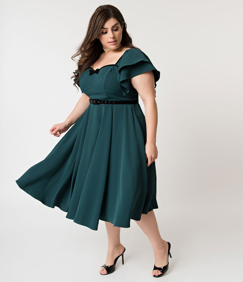 Micheline Pitt For Unique Vintage Plus Size Hunter Green Carmelita Swing Dress
