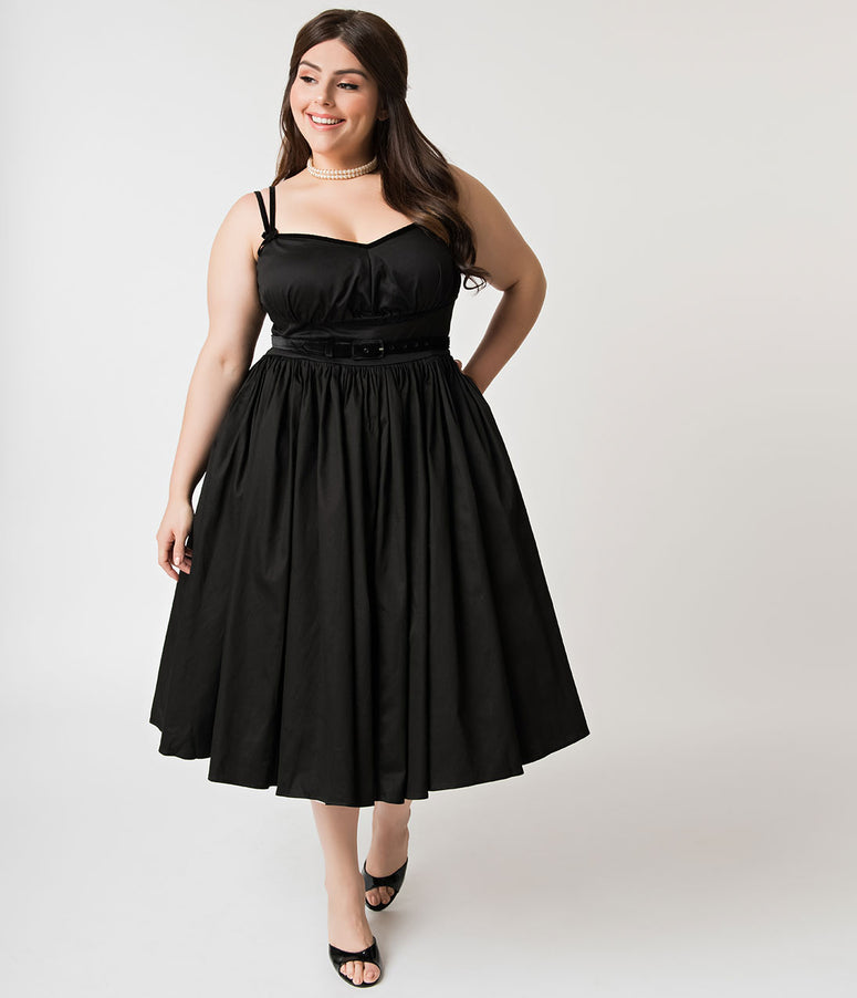 Micheline Pitt For Unique Vintage Plus Size Black Cotton Alice Swing Dress