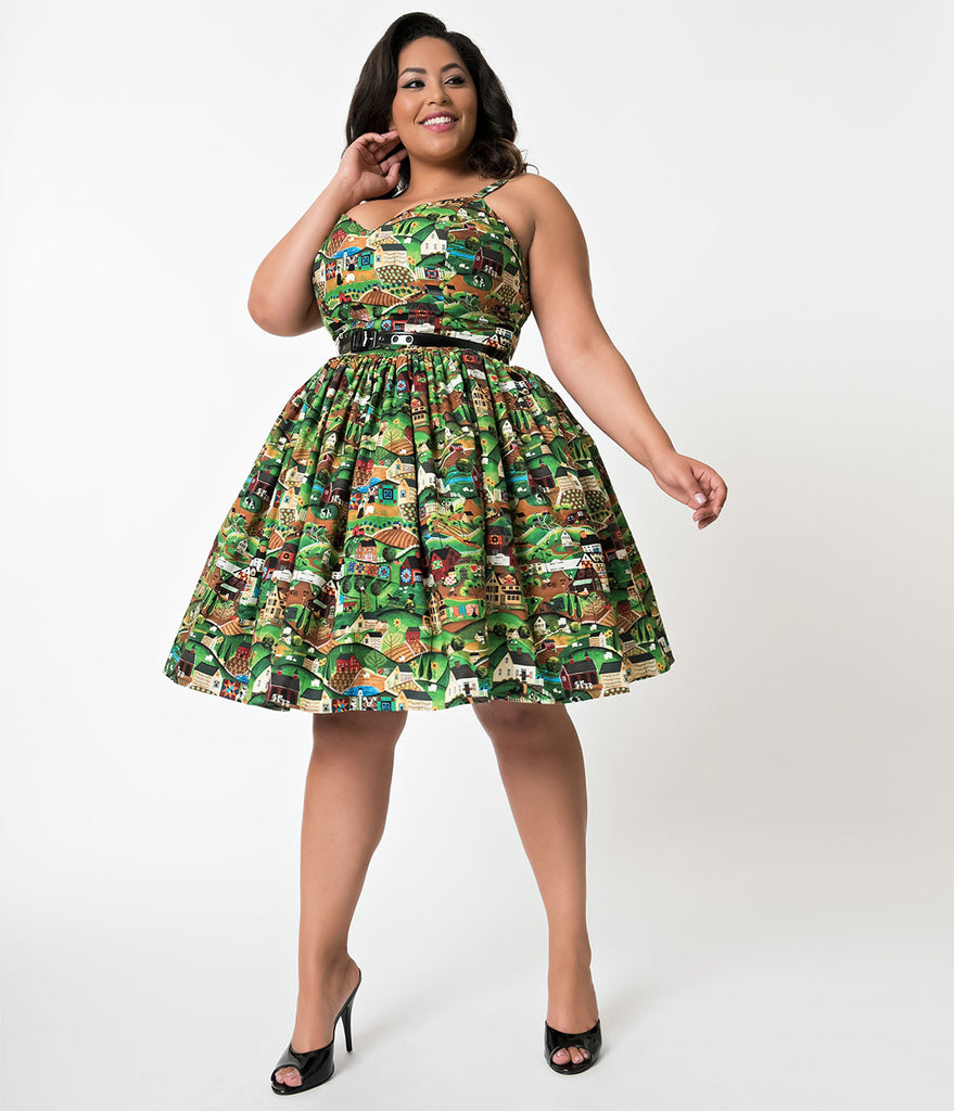 Bernie Dexter Plus Size Heartland Print Georgia Cotton Swing Dress