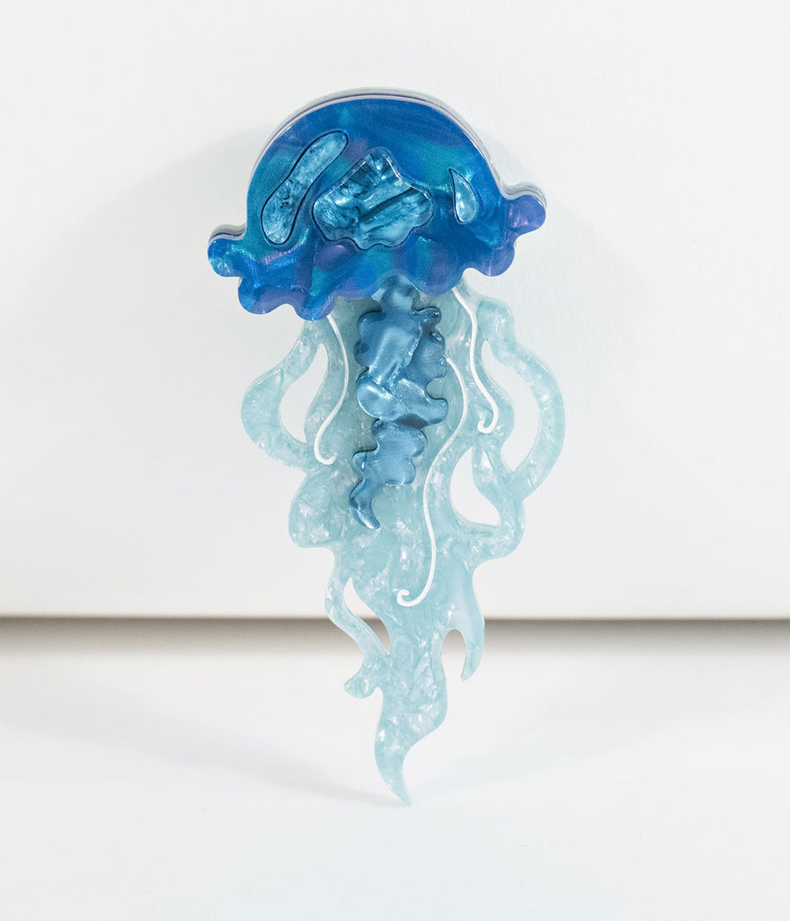Erstwilder Blue Slippin Under Jellyfish Resin Brooch Pin