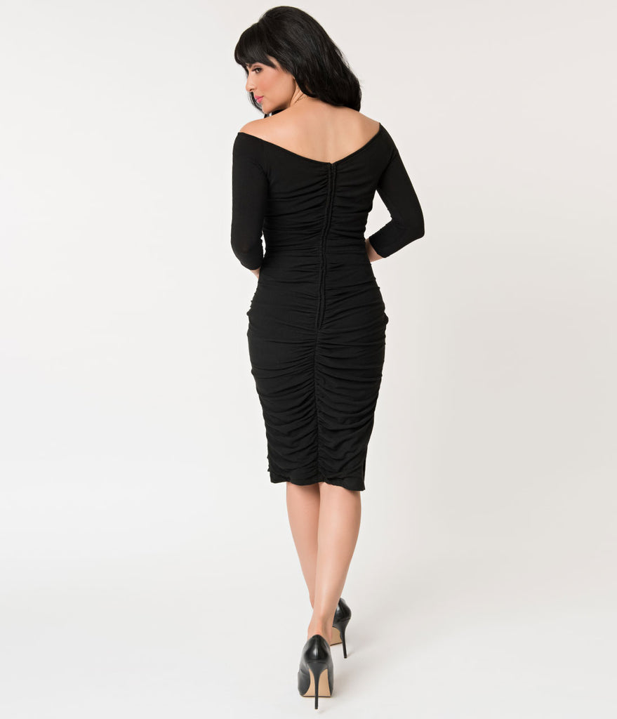 Unique Vintage Black Ruched Off Shoulder Calvet Sleeved Wiggle Dress