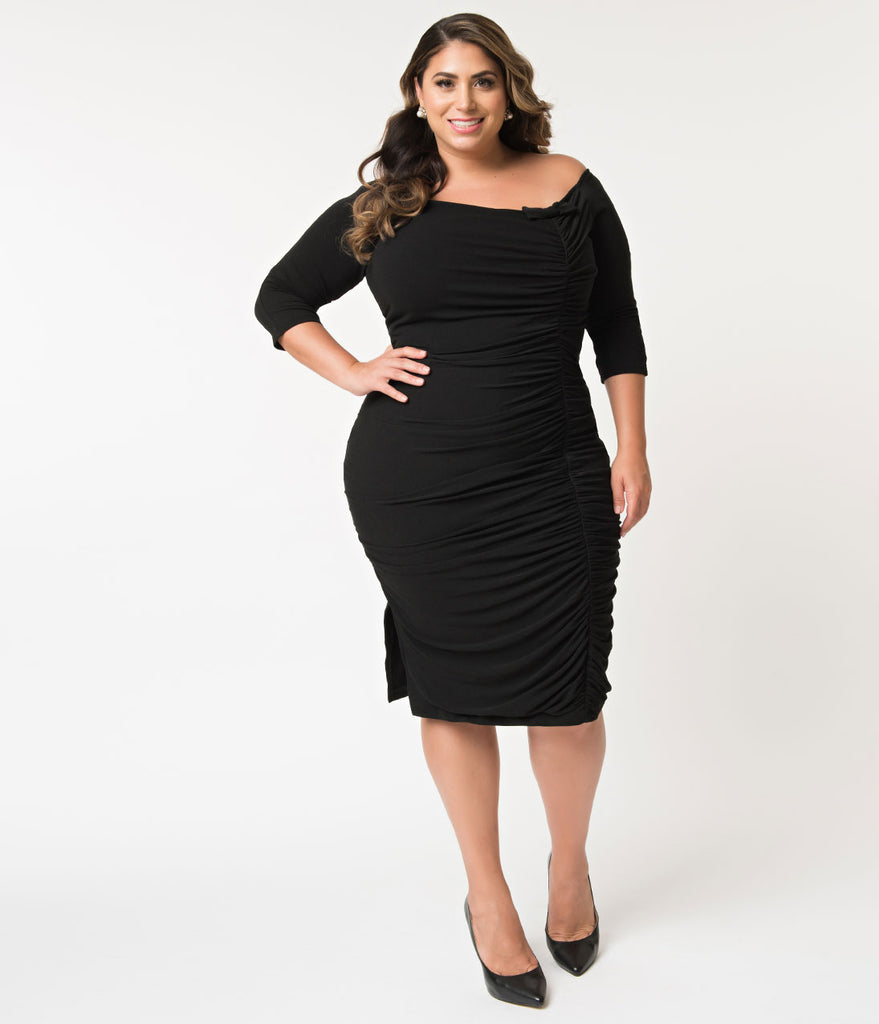 Unique Vintage Plus Size Black Ruched Off Shoulder Calvet Sleeved Wiggle Dress