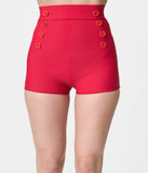 Pin-Up Style Red Button High Waist Sailor Swim Bottoms