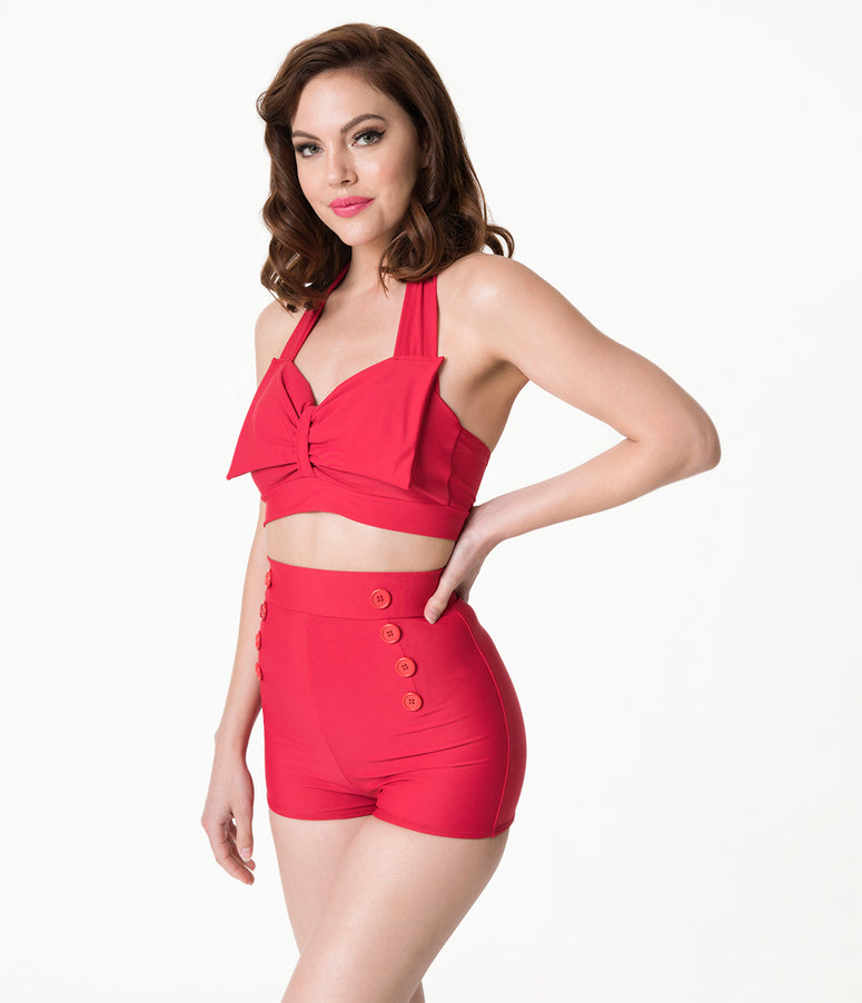 Vintage Style Red Bow Halter Swim Top