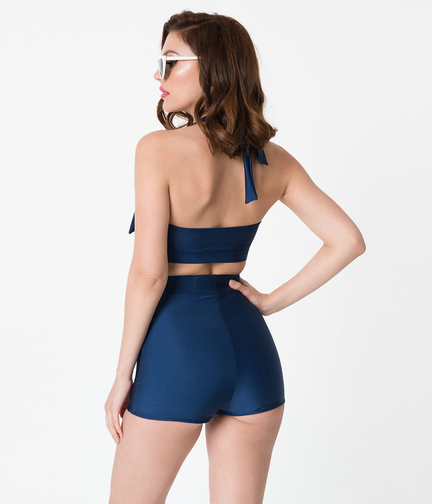 Vintage Style Navy Blue Bow Halter Swim Top