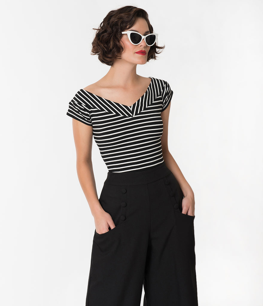 Unique Vintage 1950s Style Black & White Striped Stretch Knit Deena Top
